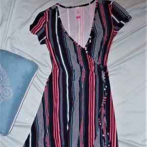extra small womens white striped blue dress SOFT